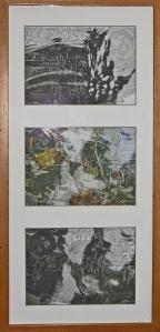 A triptych of Silk Printsfrom the 'Pagoda' series