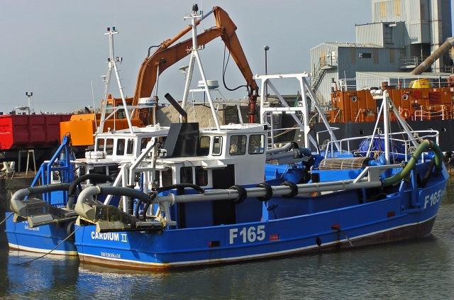 Blue boat, ochre crane
