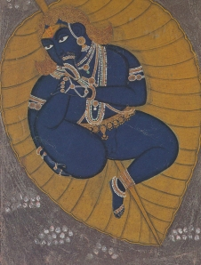 The Infant Krishna Floating on the Cosmic Ocean Nathdara, Rajasthan c1840 Arthur M Sackler Gall Harvard Uni Art Mus Private Coll