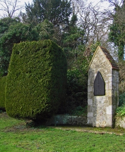 The Rosary Walk, Aylesford Priory. I like the juxtaposition of living sculpture (the yew) and the stone 'station' of the rosary