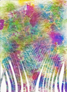 Gelli Print Fringed & Waxed (Encaustic)