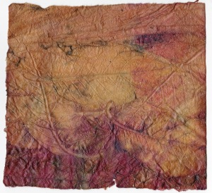 Eco Print Encaustic on Square Khadi Paper Autumnal Ornamental  Cherry Leaves Frozen Side I 21 January 2015