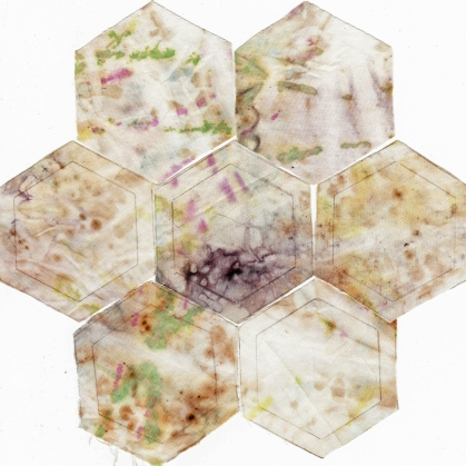 Hexagonal Quilt Flower from Eco Printed Fabric II 29 January 2015