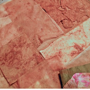 Assortment of Rust Dyed Papers and Fabrics