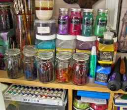Paints Pigments and Sari Silks in Jars