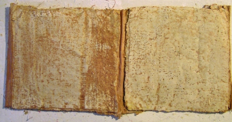 Plaster of Paris Accordion Book with Layer of Burnt Sienna October 2015
