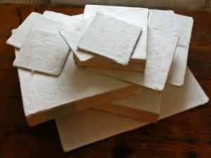 Pile of Plaster of Paris Prepared Panels and Canvases 3 December 2015