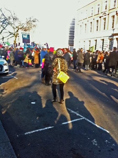 Women's March, London 21 January 2017 - Woman in Faux Leopard Outfit.